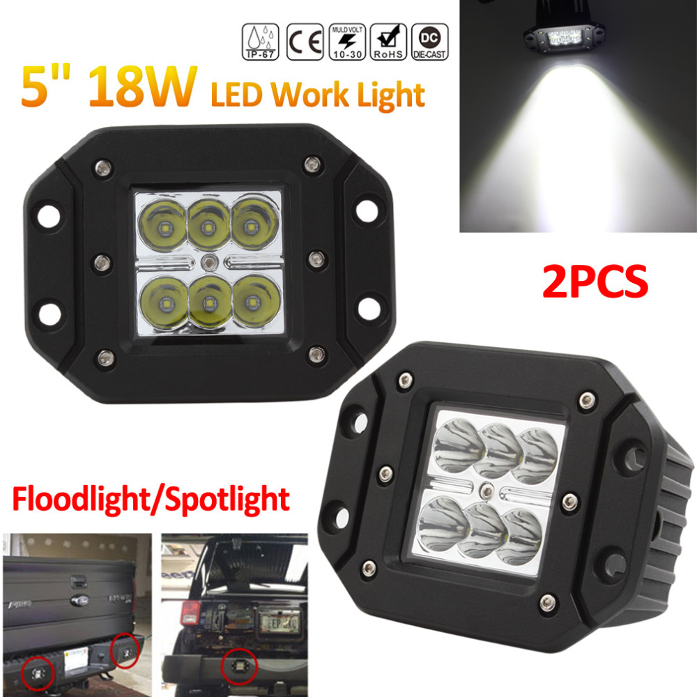 2pcs! 18W 12V 24V Offroad Car LED Work Light Waterproof Spot Flood Worklight for Auto Motorcycle Tractor Boat Off road ATV Lamp the new genuine automatic mechanical male watch belt men s watches male waterproof fashion business leisure watch