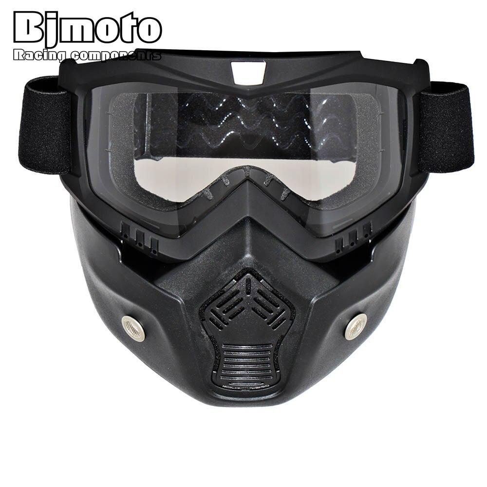 BJMOTO Motorcross Kacamata Ski Masker Sepeda Motor Helm Kacamata Topeng Kacamata  Dilepas   Mulut Filter Untuk e4f48b451f