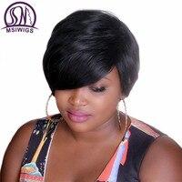 MSIWIGS Bobo Stil Kısa Siyah Kadınlar için Peruk Isıya Dayanıklı Saç Doğal Sentetik Düz Siyah Peruk Ücretsiz Hairnet