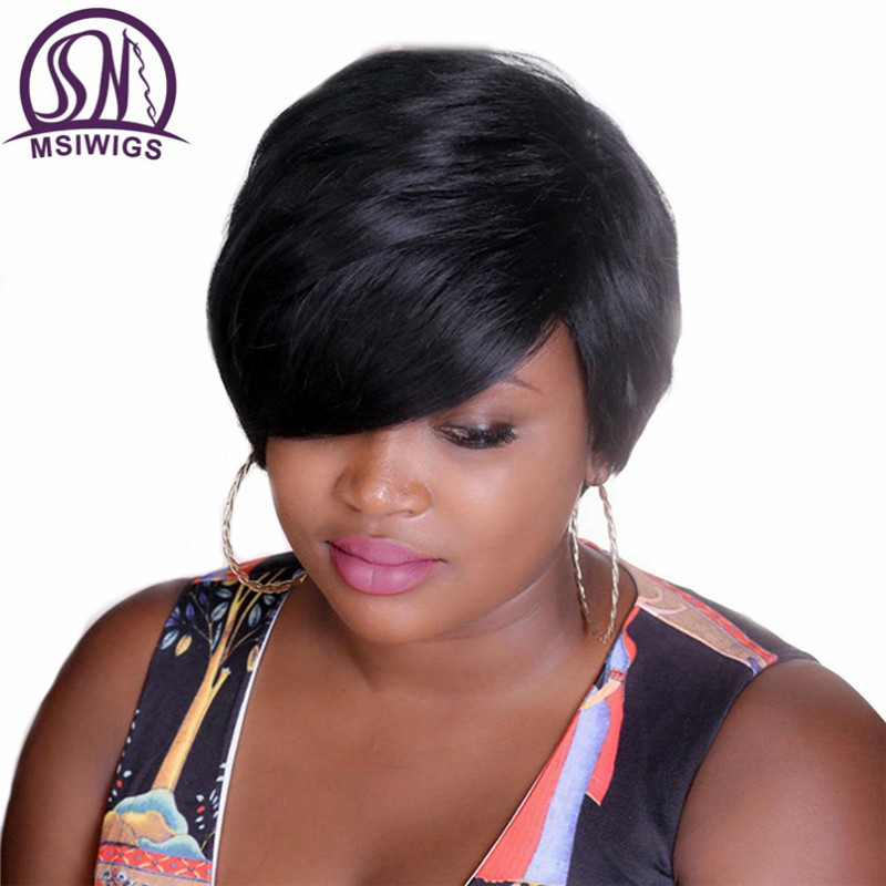 MSIWIGS Bobo Style Short Wigs For Black Women Heat Resistant Hair Natural Synthetic Straight Black Wig Free Hairnet