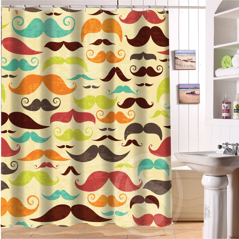 Mustache shower curtain - Vogue Fabric Bathroom Curtain Personalized Seamless Pattern With Colorful Mustaches Shower Curtain 66x72 60x72 48x72 Inch