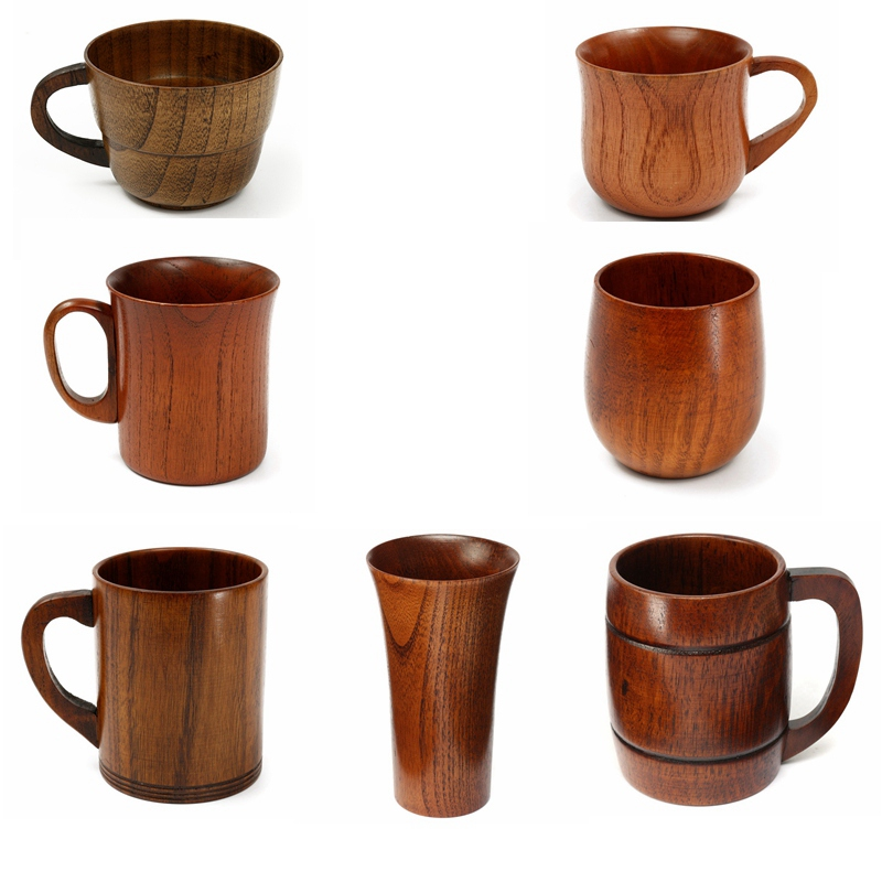 7 Styles Primitive Handmade Natural Wood Wooden Mug