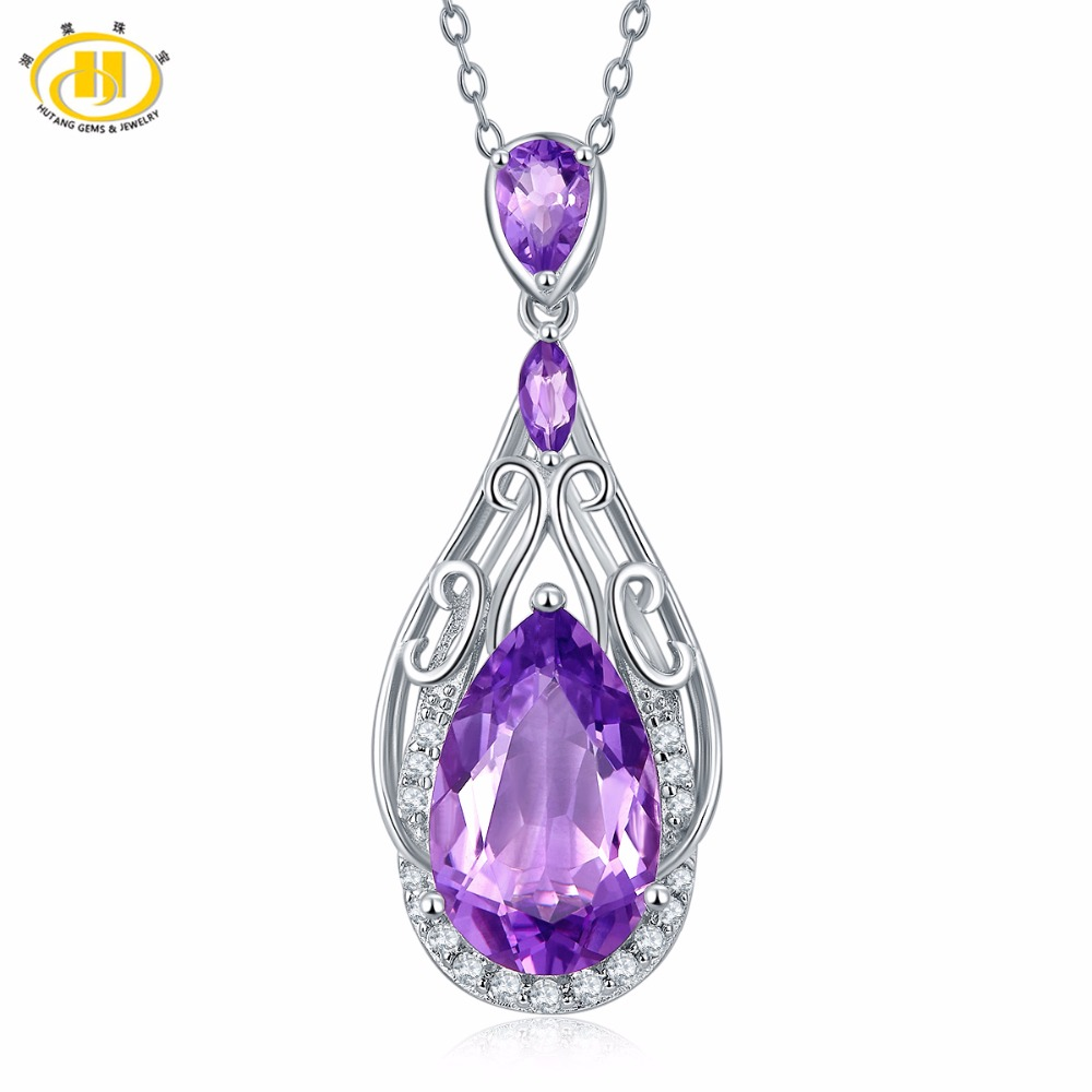 Hutang 6 66ct Natural Purple Amethyst Solid 925 Sterling Silver Filigree Pendant Necklace Gemstone Fine Jewelry