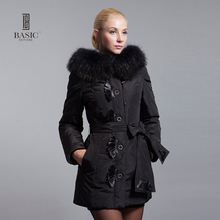 BASIC-EDITIONS 2016 Winter Fur Hooded Fur Collar Slim Long Jacket Down Parka White Duck Down Winter Coat Women Jacket 10W-32