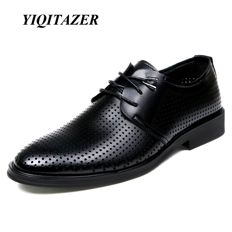 YIQITAZER 2018 New Fashion Summer New Breathable Point Toe Տղամարդկանց կոշիկ, Oxfords Soles Business Lace up shoes