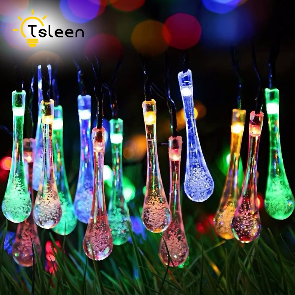 TSLEEN Solar Led Holiday Lighting 50 LED Water Drop Fairy String Lights Wedding Garden Party Festival Outdoor Indoor Decoration