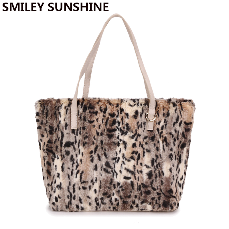 SMILEY SUNSHINE leopard faux fur women shoulder bag big tote bag ladies purses and handbags female winter hand bags bolsos mujer