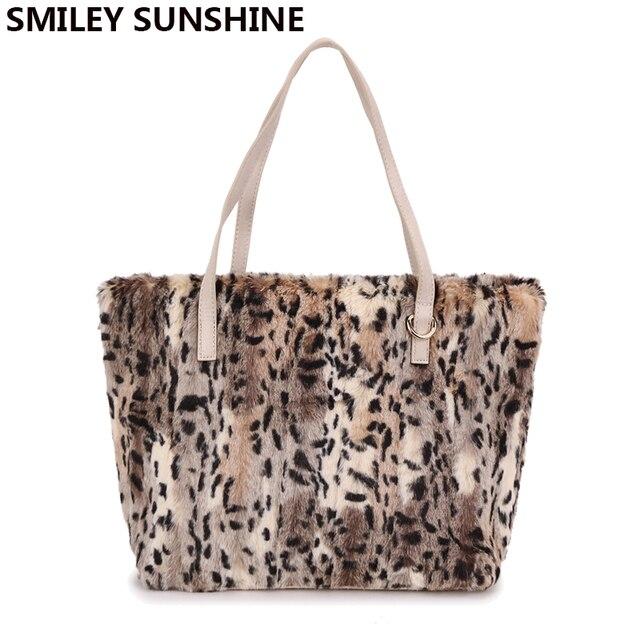 467d7e78c0d SMILEY SUNSHINE leopard faux fur women shoulder bag big tote bag ladies  purses and handbags female