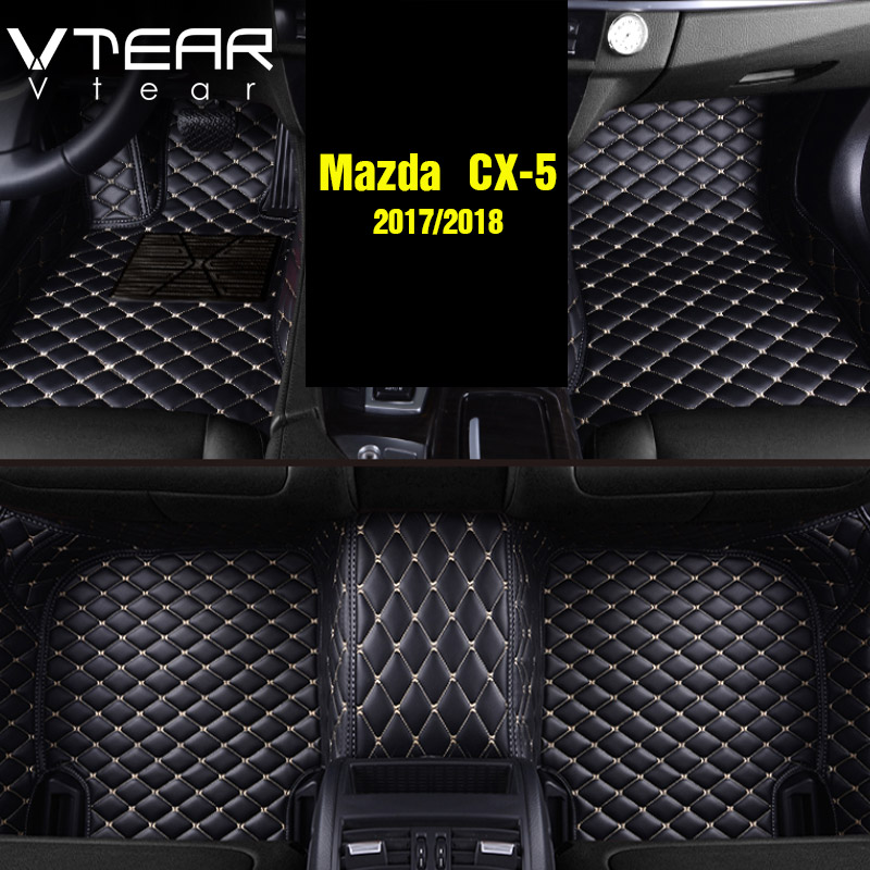 Vtear For Mazda CX-5 CX5 2017 2018 Leather Floor Mats Carpets interior pad waterproof rugs accessory products car-styling vtear for mazda cx 5 cx5 2017 2018 cargo liner car trunk mat carpet interior floor mats leather pad car styling accessories