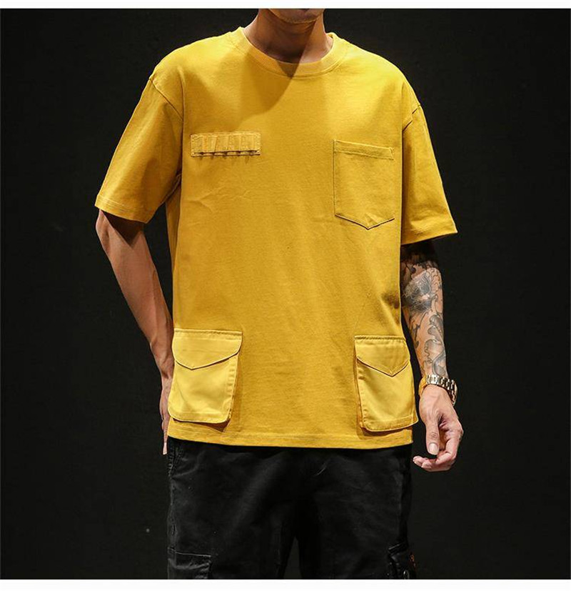 Hip Hop T-shirts Men With pockets Harajuku Oversized Tops Tee Japan Tshirt Streetwear Casual Solid High Street T Shirts Boy 38