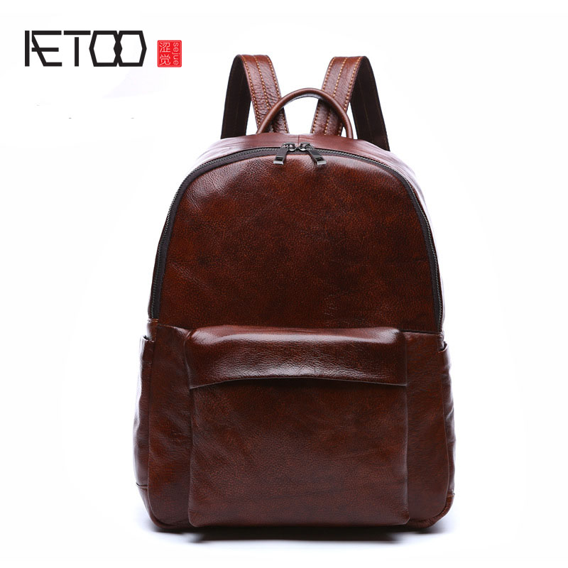 AETOO The first layer of leather shoulder bag leather men and women backpack retro bag simple bag backpack neutral package aetoo leather men bag wild european and american first layer of leather men s shoulder bag trend backpack