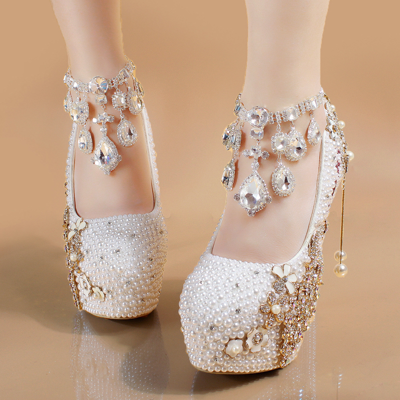 Bride Shoes White Women Heels Pearl Custom Letters Colors Applique Crystal Peacock Tassel Elegant Wedding Pumps With Rhinestones