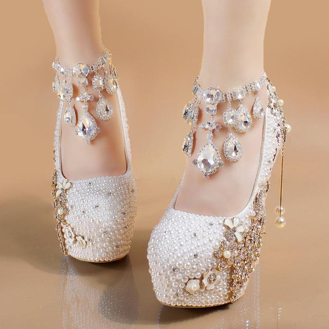 Bride Shoes White Women Heels Pearl Custom Letters Colors Applique Crystal Peacock Tassel Elegant Wedding Pumps With Rhinestones