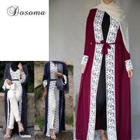 העבאיה מוסלמית אופנה גלימה ארוכה מקסי שמלת התחרה קרדיגן קימונו הרמדאן שירות פולחן תפילה בגדים אסלאמיים Thobe הערבי דובאי