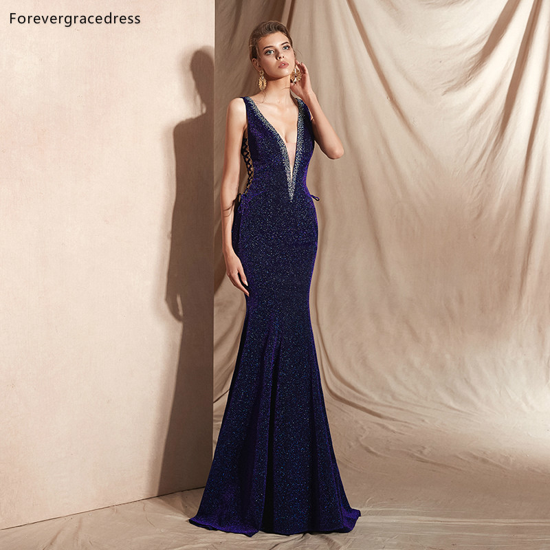 Forevergracedress Deep V Neck   Evening     Dresses   2019 New Sexy Mermaid With Lace Up Back Formal Party Gowns Plus Size Custom Made