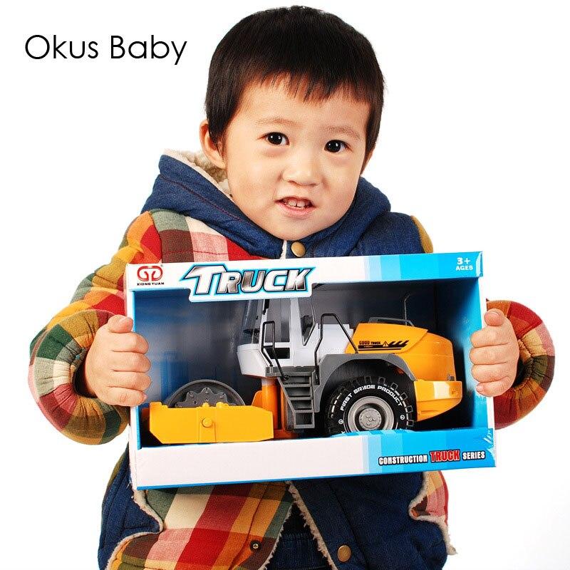 Emulational Road Roller Truck Children Pull Back Toys Car Land Leveller Machinery Truck For Kids Christmas Gift
