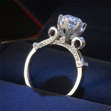 New Design Women Lotus Flower Ring Silver Color Jewelry Zircon Engagement Rings