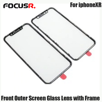 FOCUSR. New 2 in 1 LCD Screen Front Outer Glass Lens with Middle Frame for iPhone XR 6.1 Glass+Mid Frame Bezel Replacement