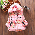 Warm Winter Baby Girls Parkas Rose Print Outerwear Hooded Cotton-Padded Thicken Coat Outerwear Parkas Snow Wear