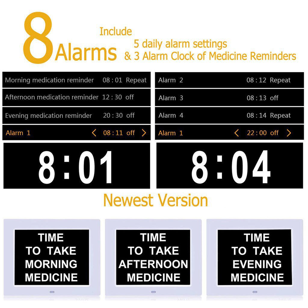 Alarm Day Clock Electronic Extra Large Digital Clock Non Abbreviated