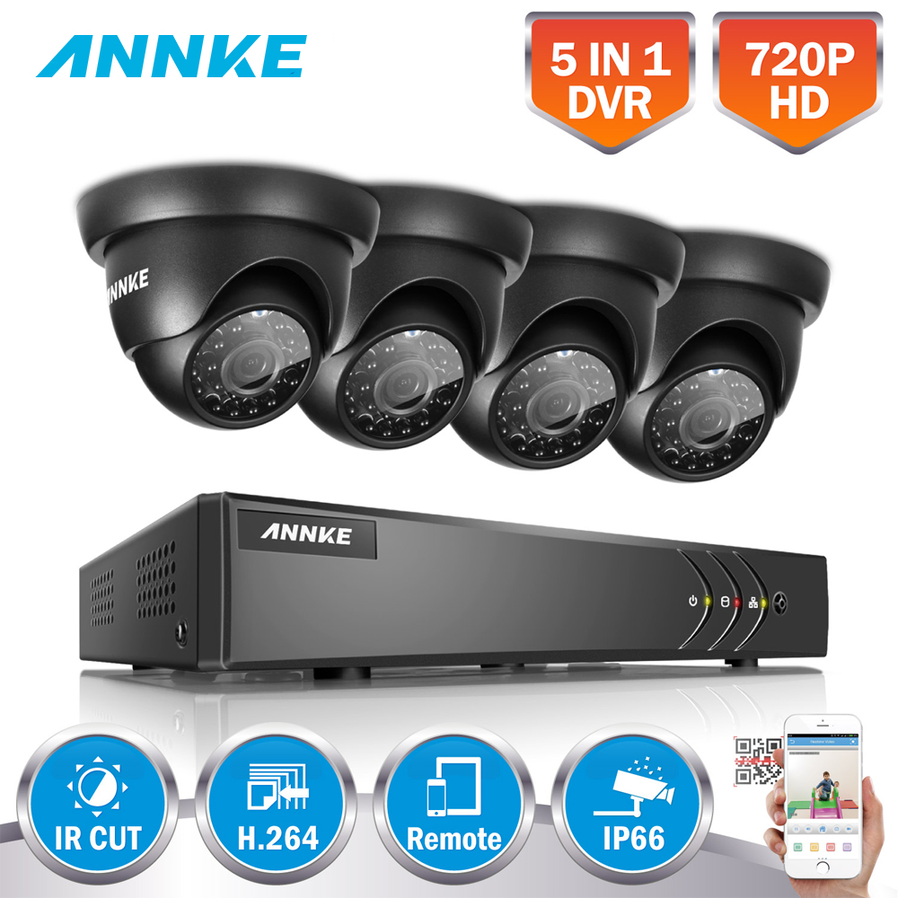 ANNKE 4pcs 720P 5 in 1 DVR Kits 8CH 1080N HDMI CCTV Security Camera System 1500TVL Outdoor Waterproof CCTV home Surveillance kit annke 8ch 5 in 1 dvr kits surveillance camera hd 720p tvi cctv security system 1080n dvr kit 1280tvl outdoor weatherproof video