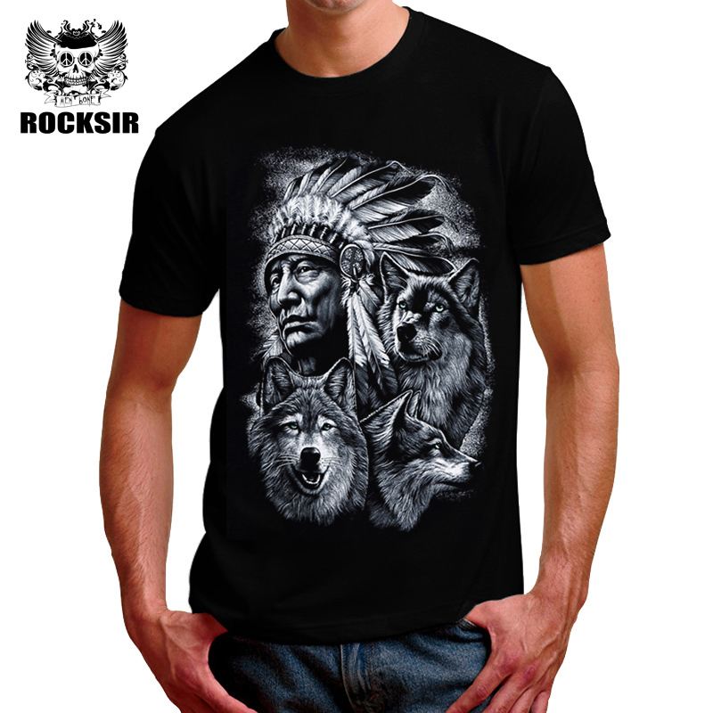 men 3d wolf t shirts fashion black white printed tshirt. Black Bedroom Furniture Sets. Home Design Ideas