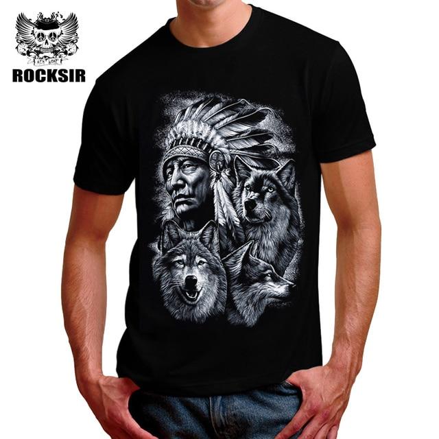 cb39e597fe4 Men 3D Wolf T-shirts Fashion Black White Printed Tshirt Casual 100% Cotton T