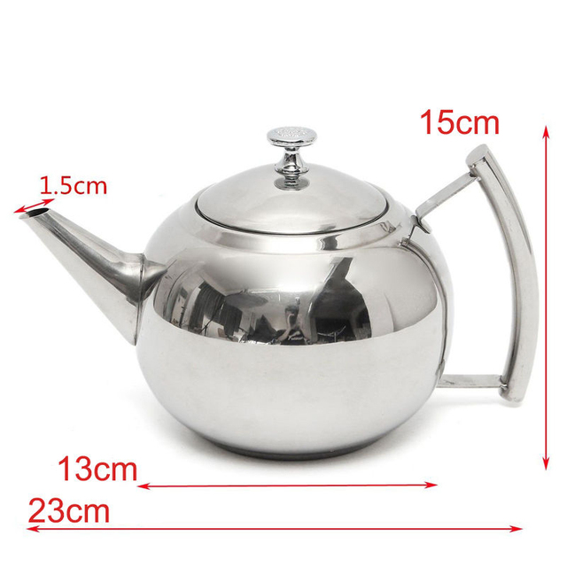 Stainless Steel Teapot Tea Pot With Infuser Strainer Handle Coffee Leaf Filter Herbal Ball Shape Drinkware Teaware 1 5 2l