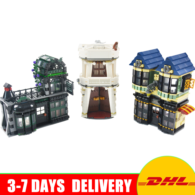 2017 LEPIN 16012 2025Pcs SMovie Series Harry Potter The Diagon Alley Set Model Building Kits  Blocks Bricks Toys Clone 10217 harry potter magical places from the films hogwarts diagon alley and beyond