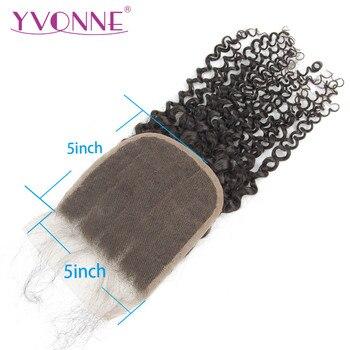 YVONNE Malaysian Curly 5x5 Lace Closure 100% Human Hair Closure Brazilian Virgin Hair Free Part Natural Color