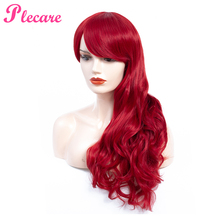 Plecare Ombre Red Color 150% Heavy Density Synthetic Wavy Wigs Heat Resistant Fiber Long Wig For Women Cospaly