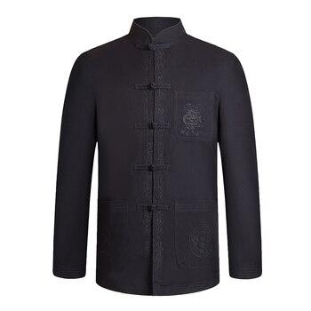 Men Tunic Coats Oriental Pattern Tunic Kong Fu Jackets Black Khaki Cotton Outerwear Mandarin Collar Ethnic Mao Coat Male Outfits