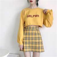2019 New Woman Korean Wild Retro Student High Waist Slim A word Hip Plaid Short Skirt Female E3219
