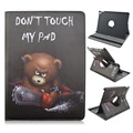 PU Leather and PC Material 360 Degrees Rotating Cover Case of Contrast Bear do not Touch My Pad Pattern for iPad 2 3 4