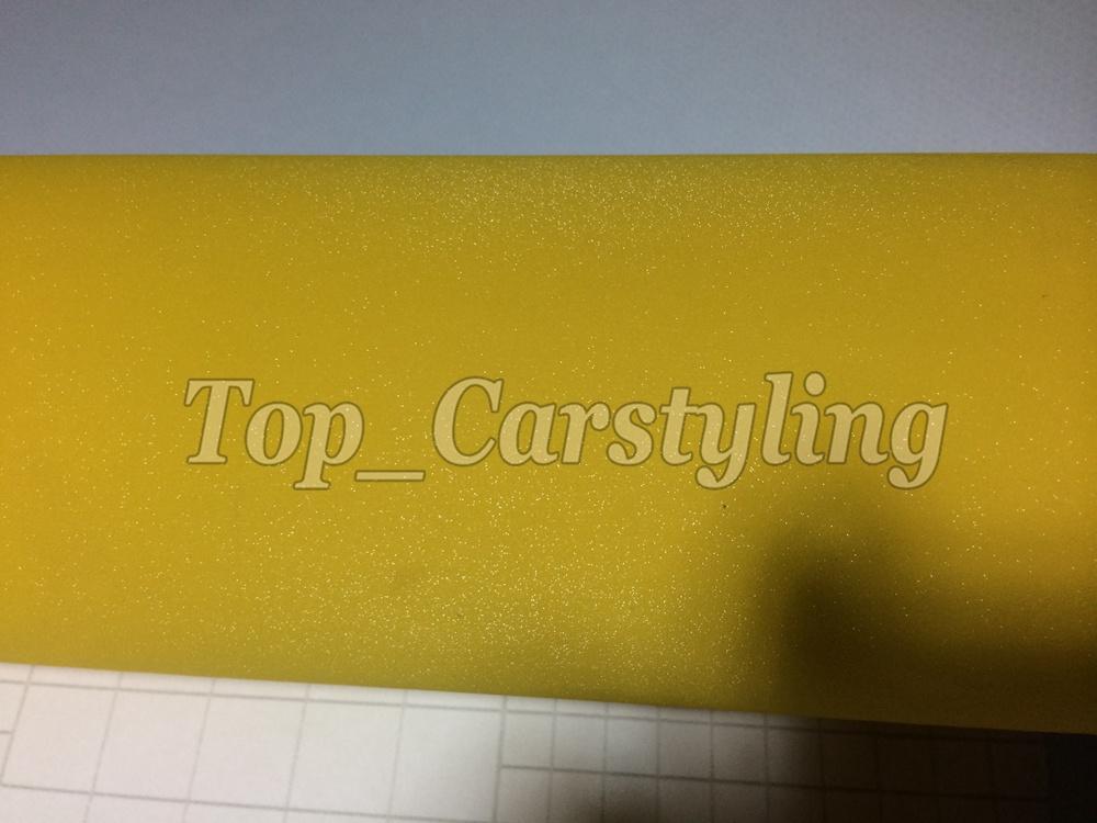 Yellow glitter vinyl sandy car wrap film (4)