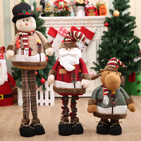 110cm Large Retractable Standing Christmas Dolls Big Santa Claus Snowman Xmas Gift Toy Figurine Christmas Decorations for Home