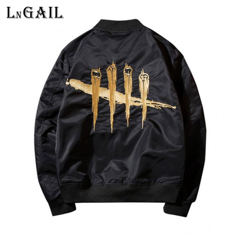 2017 Spring Black Bomber Jacket Flight Pilot street Mens zipper Jackets Military Men's Coats Men's Brand Clothing 4XL