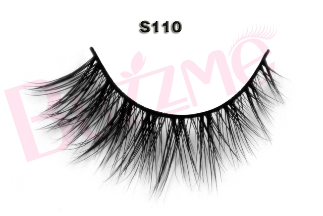 New release beauty 1 pair S110 luxe mink false eyelash 100% real mink fur Handmade individual strip thick lashes
