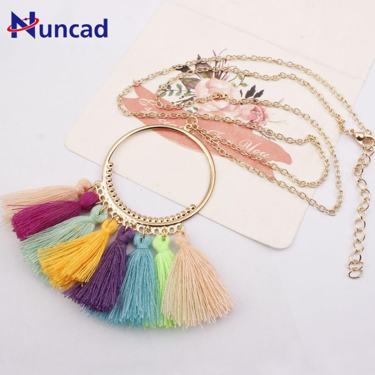 Neue Stil Multicolor Quasten Anhänger Halskette Frau Mode Ornamente Lange Kette Böhmen Gold Halskette Weibliche Zubehör