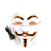 Handmade Glowing Product for Festival Party Decoration Supplies EL Wire V for VENDETTA Mask Glowing Party Mask 5pieces