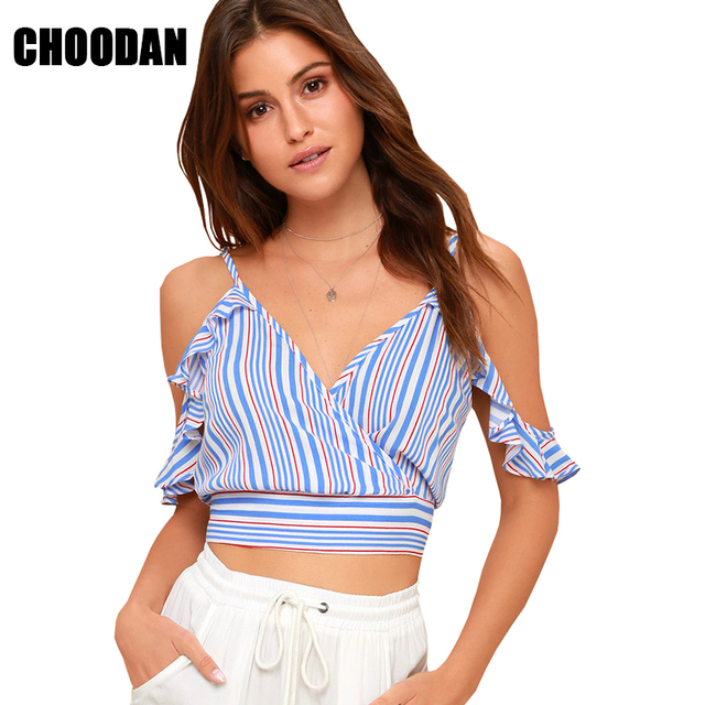 05663032fc Crop Top Women Off The Shoulder Shirt V-neck Summer Sleeveless Blouses  Fashion 2018 Short