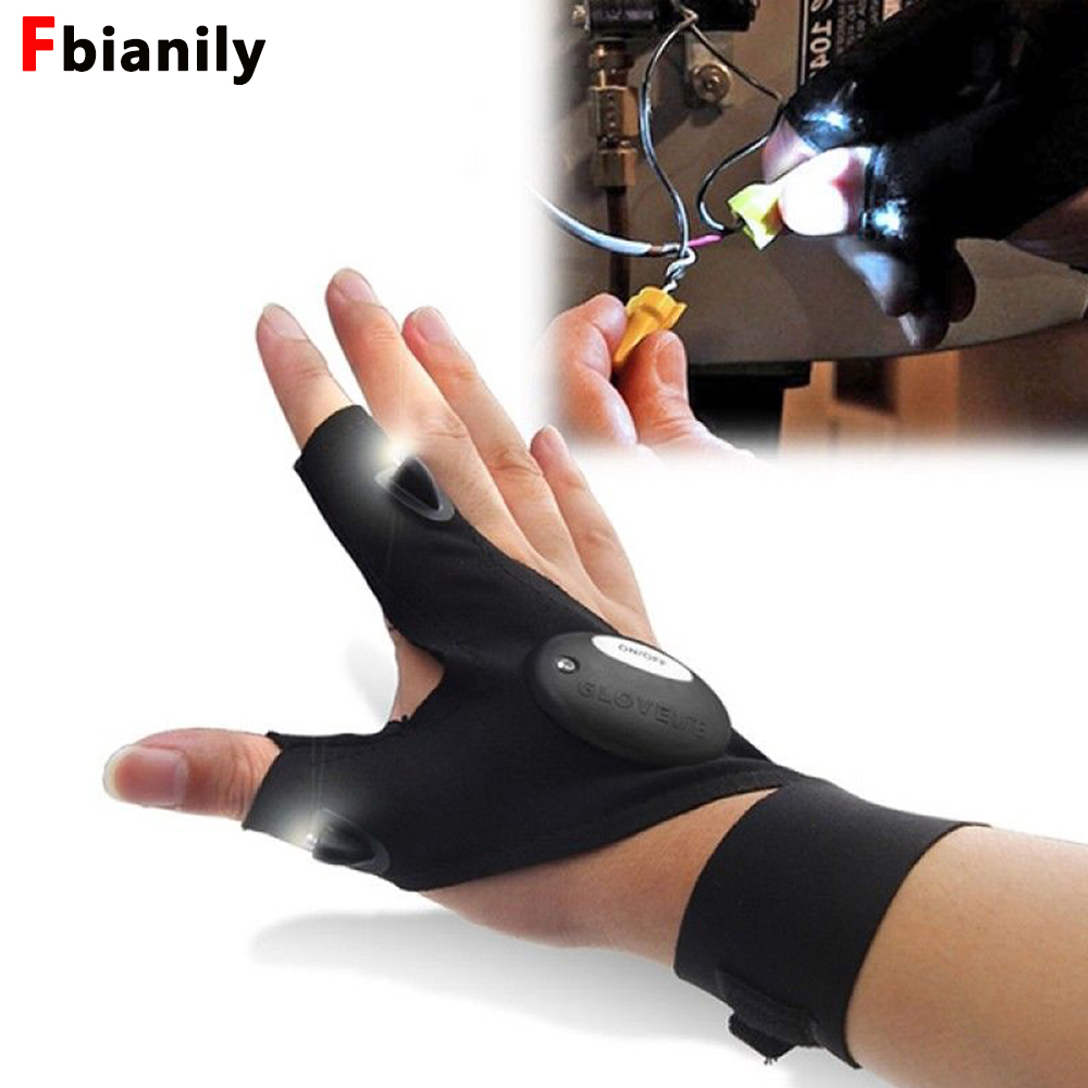Repairing Finger Light LED Glove Flashlight Torch For Camping Hiking Fishing Mini Portable Lighting Multi-use Lamp