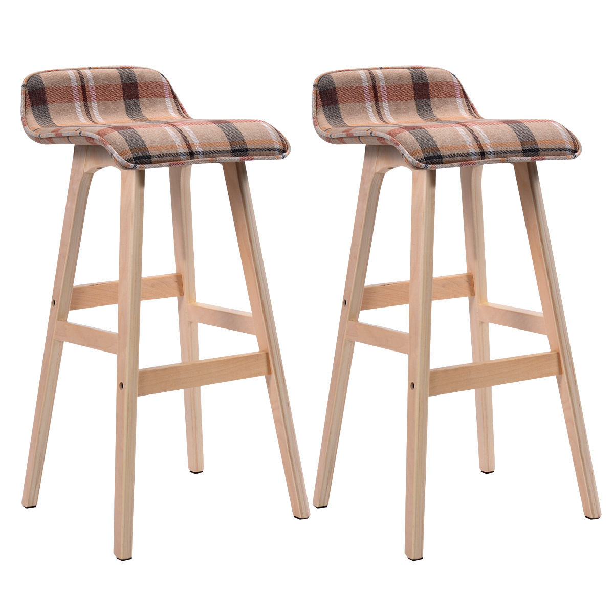Giantex Set Of 2 29-Inch Vintage Wood Bar Stool Modern Dining Chair Counter Tall Linen Fabric Kitchen Bar Furniture 2*HW52976RE