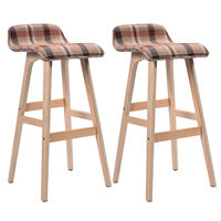 Giantex Set of 2 29 Inch Vintage Wood Bar Stool Modern Dining Chair Counter Tall Linen Fabric Kitchen Bar Furniture 2*HW52976RE