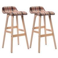 Giantex Set of 2 29 Inch Vintage Wood Bar Stool Modern Dining Chair Counter Tall Linen Fabric Kitchen Bar Furniture 2*HW52976RE