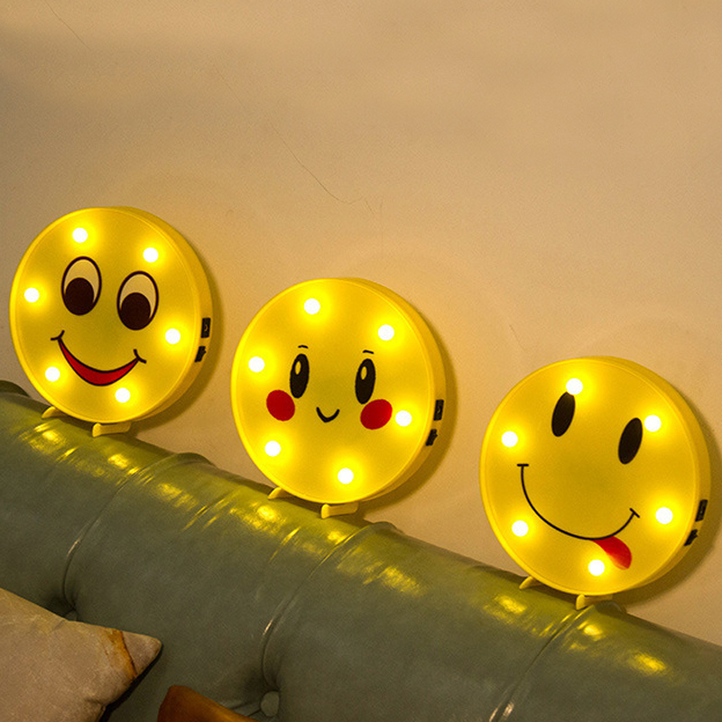 3D Decorative Night Lights Emoji Holiday Lamp Smile Face Desk Lighting For Baby Kid Chil ...
