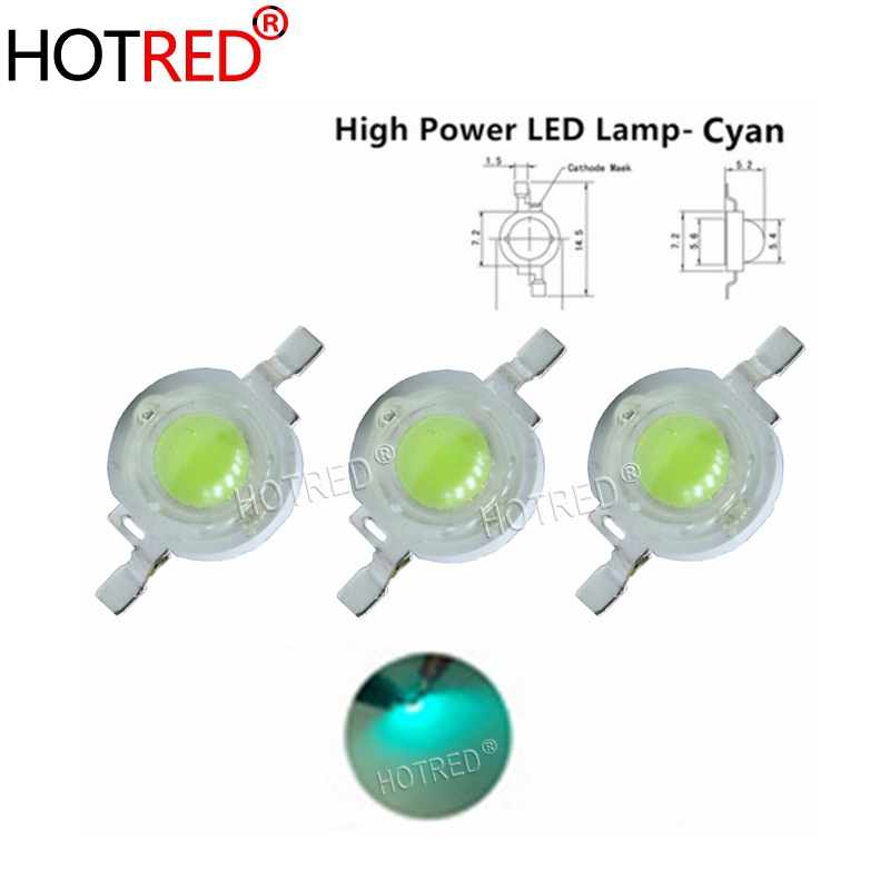 10-100PCS 3W Cyan Ice Blue Green High Power <font><b>LED</b></font> Lamp <font><b>Led</b></font> Emitter Light <font><b>490</b></font>-495nm Diode 350-700mA For Decoration image