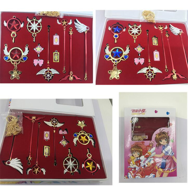 Japanese Anime Card Captor Kinomoto Sakura Cosplay Props Clow Card Magic Wand Pendant Key Buckle Ornaments Collection Suit Costumes & Accessories