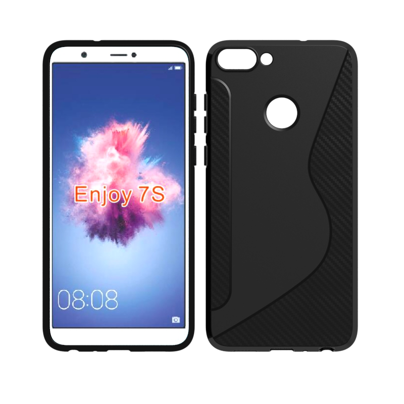 CASEISHERE For Huawei P smart Case Soft S Line Drawing Silicone TPU Gel Cover Skin For Huawei Enjoy 7S P smart Phone Cases ...