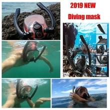 2019New Diving Mask Underwater Scuba Kid/Adult  Anti Fog Full Face Snorkeling double breathing tube Equipment